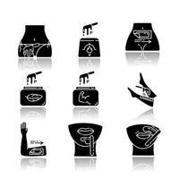 Wachsen Schlagschatten schwarze Glyphe Icons Set vektor