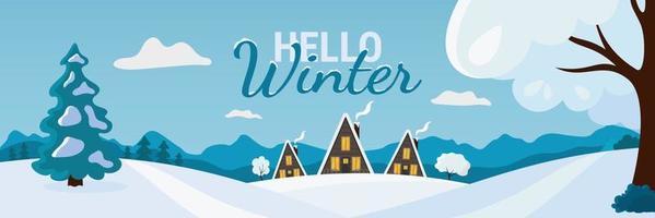 Hallo Winterbanner mit Landschaftslandschaft vektor
