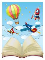 Bakgrund med flygplan i himmel