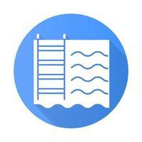 Schwimmbad blaues flaches Design lange Schatten Glyphe Symbol vektor