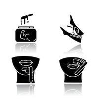 hartes Wachsen Schlagschatten schwarze Glyphe Icons Set vektor