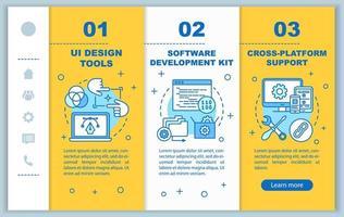 Softwareentwicklung Onboarding mobiler Webseiten Vektorvorlage vektor