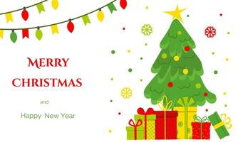 Glückwunschbanner mit bunten Geschenkboxen, Weihnachtsbaum, Girlande mit Glühbirne, Flagge. flache Vektorillustration. vektor