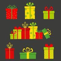 Reihe von bunten Geschenkboxen auf dunklem Hintergrund isoliert. flache Vektorillustration vektor