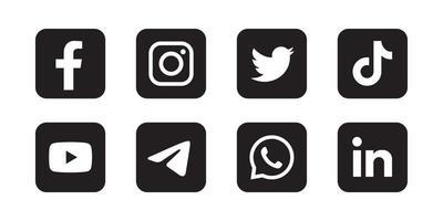 Set von Social-Media-Symbolen in schwarzem Hintergrund vektor