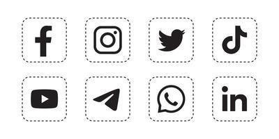 Set quadratisches Social-Media-Symbol in weißem Hintergrund vektor