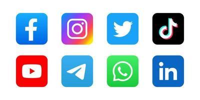 Set von quadratischen Social-Media-Symbolen im farbigen Hintergrund vektor