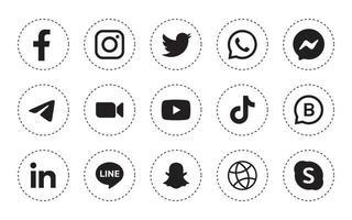 Satz von runden Social-Media-Symbolen in weißem Hintergrund vektor