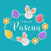 Flat Feliz Pascua Lettering Typografi Vektor Bakgrund