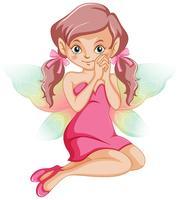 Nette Fee im rosafarbenen Kleid vektor