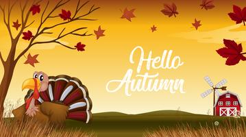 Hallo Herbst Danke Karte zu geben vektor