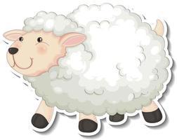 niedlicher Schaf-Tier-Cartoon-Aufkleber vektor