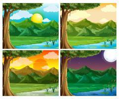 Fyra natur scen på olika tid på dagen