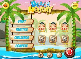 Strandurlaub Spielvorlage vektor