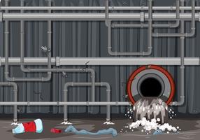 Abfallrohrsystem und Wasserverschmutzung vektor
