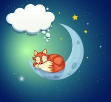 En räv sover över månen