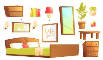 Moderne Möbel für Innenarchitekturelemente im Schlafzimmer. Vektorkarikatur-Illustrationssatz