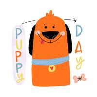 Netter orange Hund, der mit bunter Beschriftung herum lächelt