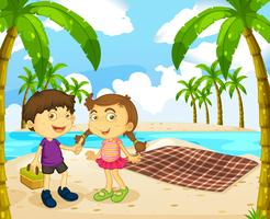 Jungen und Mädchen Picknick am Strand vektor