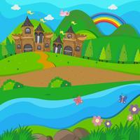 Bakgrundsscen med brunt slott vid floden