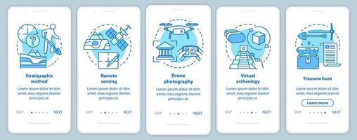 Archäologiemethoden beim Onboarding der mobilen App-Seitenbildschirmvektorvorlage vektor