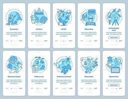 Archäologie Onboarding Mobile App Seite Bildschirm Vektor Vorlagensatz