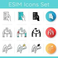 Notardienste Icons Set vektor