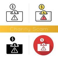 Symbol für Wohltätigkeitsbetrug vektor