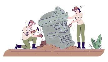 Archäologen, die antike Skulptur flache Vektorillustration erforschen vektor