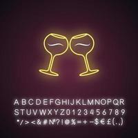 Wein Neonlicht-Symbol vektor