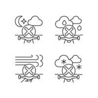sicherer Drohnenbetrieb lineare manuelle Etikettensymbole eingestellt vektor
