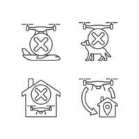 Drohnenanweisung lineare manuelle Etikettensymbole gesetzt vektor
