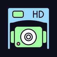 HD-Unterseitenkamera RGB-Farbsymbol für manuelles Label für dunkles Thema vektor