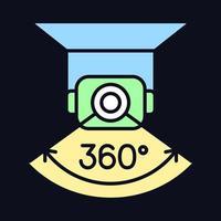 Vollständige Kamerarotation RGB-Farbsymbol für manuelles Label für dunkles Thema vektor