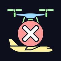 Fliegen Sie nicht in der Nähe von Flugzeugen RGB-Farbsymbol für manuelles Label für dunkles Thema vektor