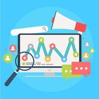 Sökmotor marknadsföring banner. Dator med objekt, diagram, användarikon. Vektor platt illusion