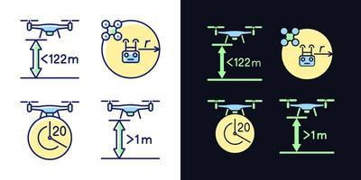 Drohne richtige Kontrolle Licht und dunkles Thema RGB-Farbe Handbuch Label Icons Set vektor