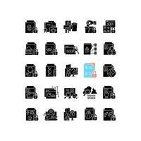 sensible Informationstypen schwarze Glyphensymbole auf weißem Raum vektor