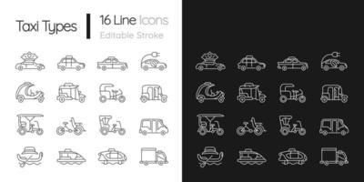 Taxitypen lineare Symbole für den dunklen und hellen Modus vektor