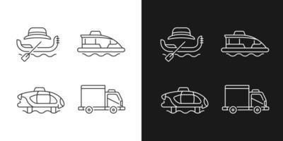 Lineare Symbole für die Taxibuchung, die für den dunklen und hellen Modus festgelegt sind vektor