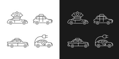 Transport von Passagieren lineare Geschäftssymbole für den dunklen und hellen Modus vektor