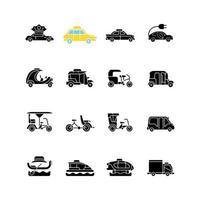 Taxitypen schwarze Glyphensymbole auf weißem Raum vektor