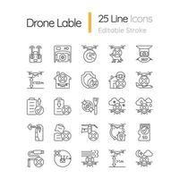 Drohnennutzung lineare manuelle Etikettensymbole eingestellt vektor