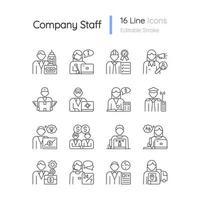 firmenmitarbeiter bezogen rgb lineare ikonen eingestellt vektor