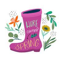 Nette Gartenschuhe mit Blumenelementen und inspirierend Zitat vektor