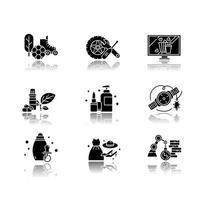 E-Commerce-Abteilungen Schlagschatten schwarze Glyphe Symbole gesetzt vektor