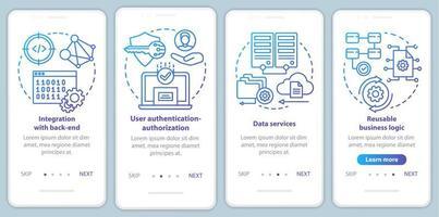 Softwareentwicklung Onboarding Mobile App Seite Bildschirm Vektorvorlage vektor