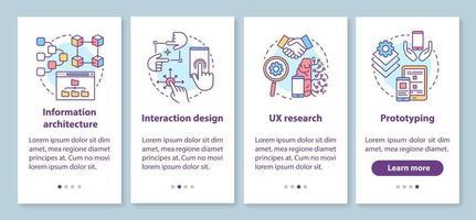 Softwareentwicklung Onboarding mobiler App-Seitenbildschirm mit linearen Konzepten vektor