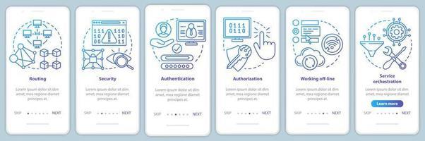 Mobile Softwareentwicklung Onboarding Mobile App Seite Bildschirmvektorvorlage vektor