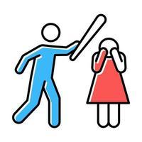 Gewalt gegen Frau Farbsymbole gesetzt vektor